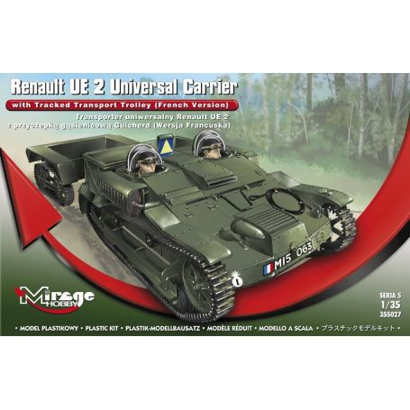 MIRAGE HOBBY 355027 RENAULT UE 2 UNIVERSAL CARRIER CARRIER WITH TRACKED TRANSPORT TROLLEY (FRENCH VER.) 1/35