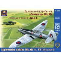ARK MODELS 72012 SUPERMARINE SPITFIRE MK.XIV BRITISH FIGHLER VS. V-1 GERMAN FLYING BOMB 1/72