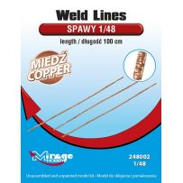 MIRAGE HOBBY 248002 WELD LINES SCALE 1/48 LENGTH: 100 CM [COPPER] 1/48