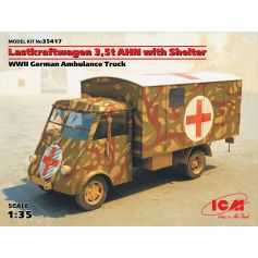 ICM 35417 LASTKRAFTWAGEN 3,5 T AHN WITH SHELTER, WWII GERMAN AMBULANCE TRUCK 1:35