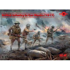 British Infantry in Gas Masks 1917 4 figures 1/35