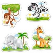 African Animals4x Puzzle 3+4+6+9