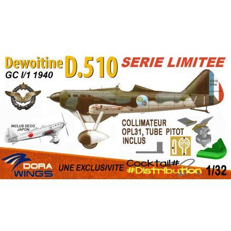 DORA WINGS 32005F - S. LIMITEE DEWOITINE D.510 GC I:1 1940 CDT PALLIER CHANTILLY 1940 1/32