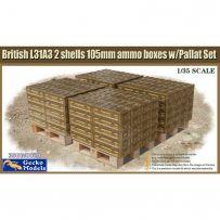 British L31A3 2 cartouches de munitions de 105 mm et palette 1/35