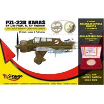 MIRAGE HOBBY 480002 PZL-23B KARAS LIGHT BOMBER 64TH LINE FLIGHT /6TH AIR REGIMENT' KIT + COLLECTOR'S COIN 1/48