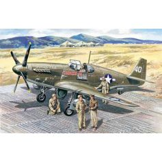 ICM 48125 MUSTANG P-51B WITH USAAF PILOTS AND GROUND PERSONNEL 1:48