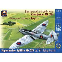 ARK MODELS 72012 SUPERMARINE SPITFIRE MK.XIV BRITISH FIGHLER VS. V-1 GERMAN FLYING BOMB 1/72